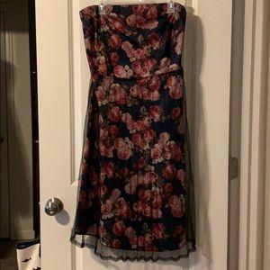 Vintage strapless dress black floral mesh overlay